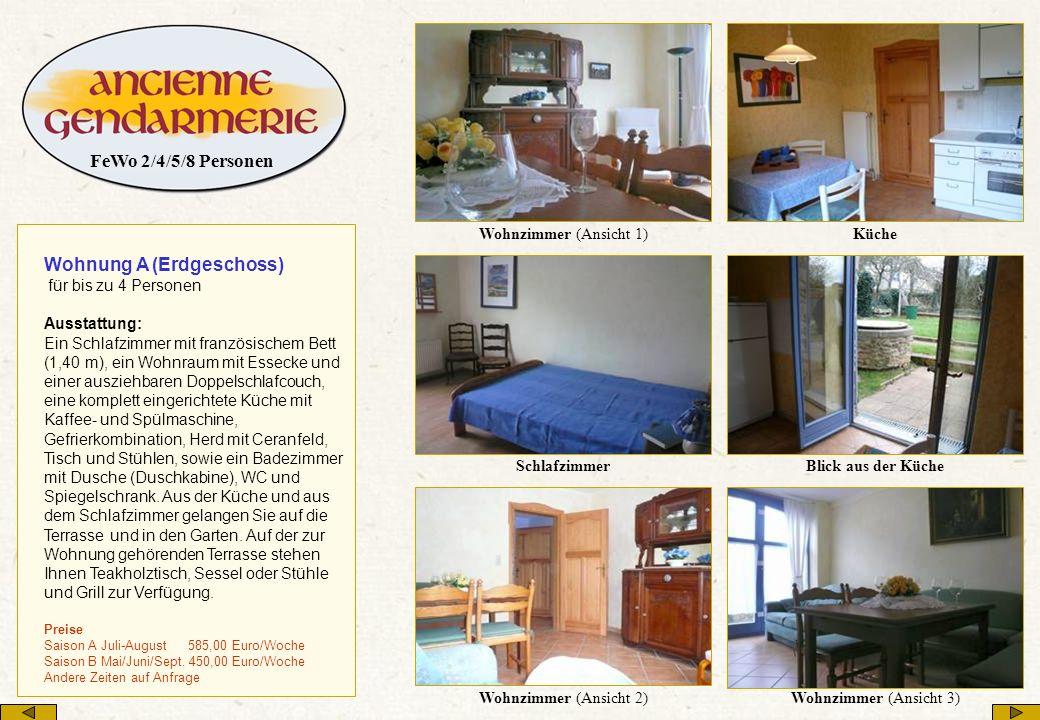 Wohnung A (Erdgeschoss) für bis zu 4 Personen Ausstattung: Ein Schlafzimmer mit französischem Bett (1,40 m), ein Wohnraum mit Essecke und einer auszie