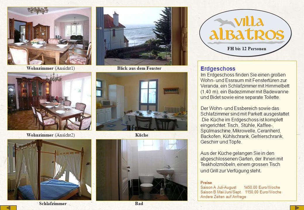 Erdgeschoss Im Erdgeschoss finden Sie einen großen Wohn- und Essraum mit Fenstertüren zur Veranda, ein Schlafzimmer mit Himmelbett (1,40 m), ein Badez