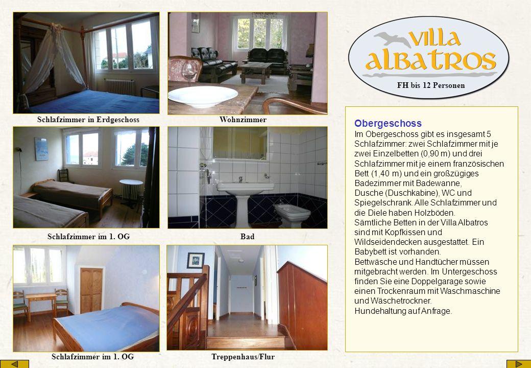 Obergeschoss Im Obergeschoss gibt es insgesamt 5 Schlafzimmer: zwei Schlafzimmer mit je zwei Einzelbetten (0,90 m) und drei Schlafzimmer mit je einem