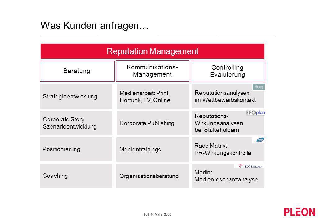 15 | 9. März 2005 Strategieentwicklung Corporate Story Szenarioentwicklung Positionierung Coaching Medienarbeit: Print, Hörfunk, TV, Online Corporate