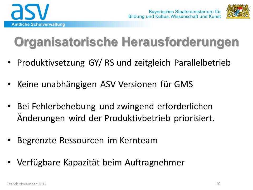 Stand: November 2013 10 Organisatorische Herausforderungen Produktivsetzung GY/ RS und zeitgleich Parallelbetrieb Keine unabhängigen ASV Versionen für