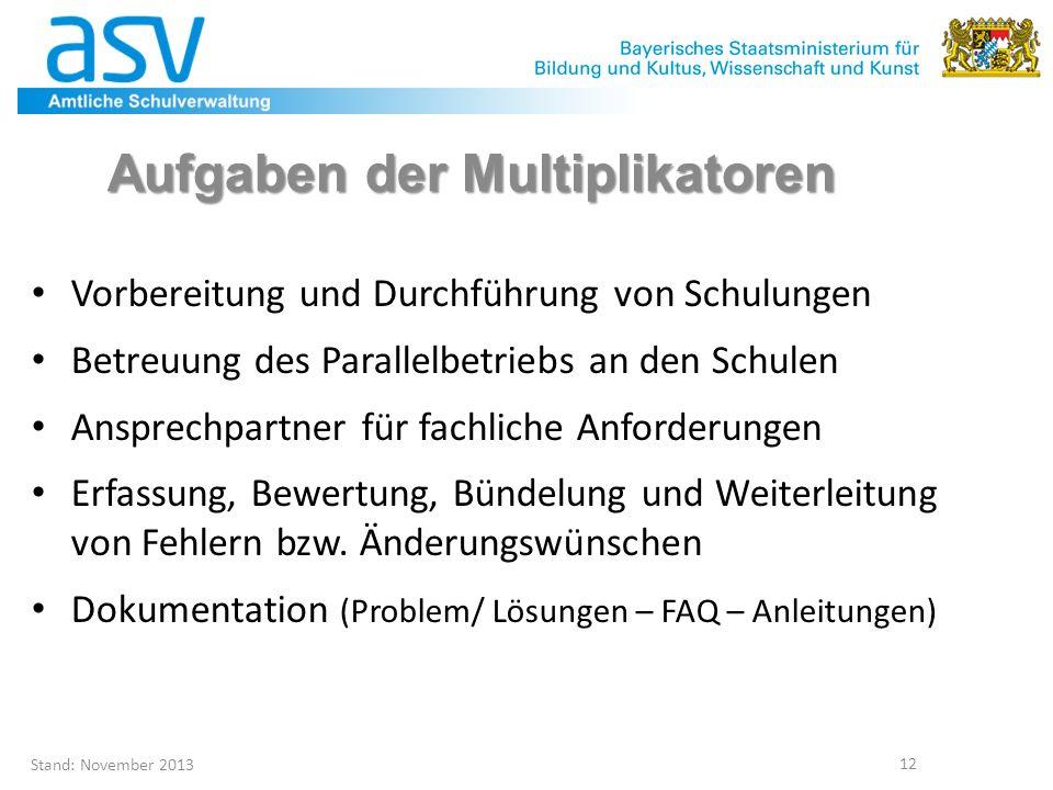 Stand: November 2013 12 Aufgaben der Multiplikatoren Vorbereitung und Durchführung von Schulungen Betreuung des Parallelbetriebs an den Schulen Anspre