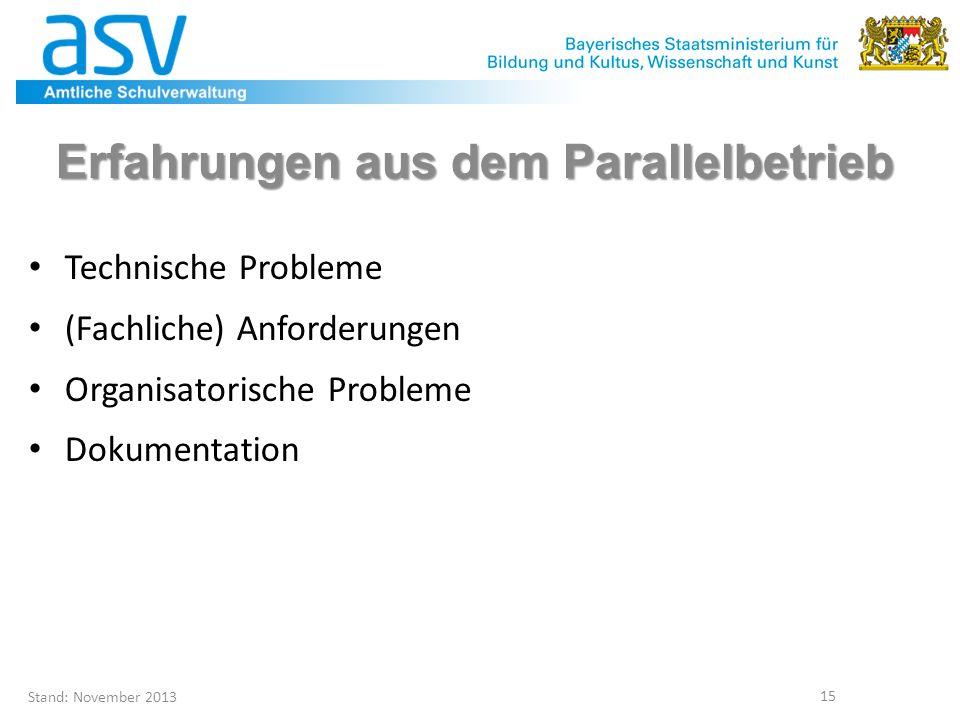 Stand: November 2013 15 Erfahrungen aus dem Parallelbetrieb Technische Probleme (Fachliche) Anforderungen Organisatorische Probleme Dokumentation