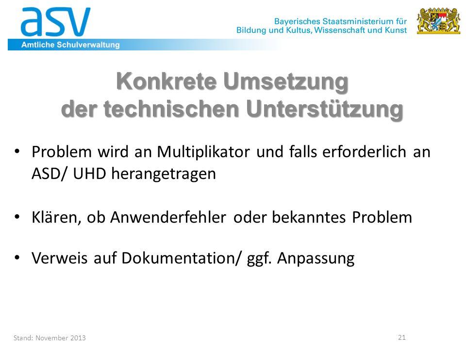 Stand: November 2013 21 Problem wird an Multiplikator und falls erforderlich an ASD/ UHD herangetragen Konkrete Umsetzung der technischen Unterstützun