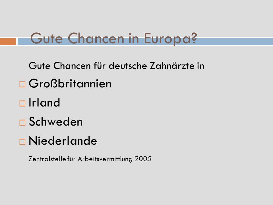 Gute Chancen in Europa? Gute Chancen für deutsche Zahnärzte in Großbritannien Irland Schweden Niederlande Zentralstelle für Arbeitsvermittlung 2005