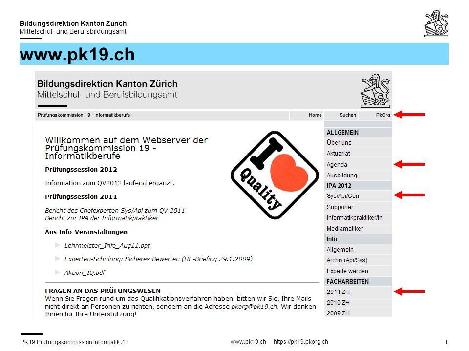 PK19 Prüfungskommission Informatik ZH www.pk19.ch https://pk19.pkorg.ch Bildungsdirektion Kanton Zürich Mittelschul- und Berufsbildungsamt 9 www.pk19.ch
