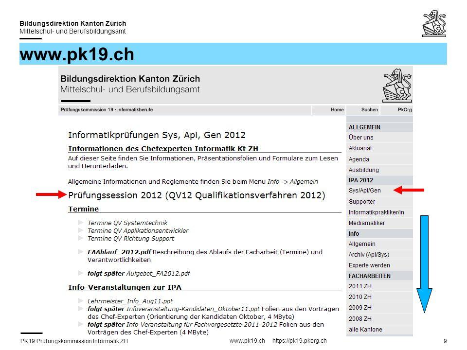 PK19 Prüfungskommission Informatik ZH www.pk19.ch https://pk19.pkorg.ch Bildungsdirektion Kanton Zürich Mittelschul- und Berufsbildungsamt 20 Facharbeit: Ablauf/Organisatorisches (1) Die Facharbeit wird via Web organisiert.