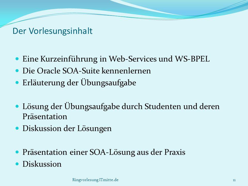 Der Vorlesungsinhalt Eine Kurzeinführung in Web-Services und WS-BPEL Die Oracle SOA-Suite kennenlernen Erläuterung der Übungsaufgabe Lösung der Übungs