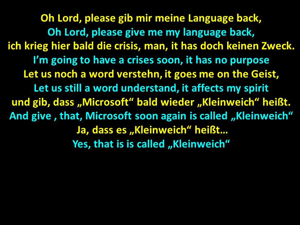 Oh Lord, please gib mir meine Language back, Oh Lord, please give me my language back, ich krieg hier bald die crisis, man, it has doch keinen Zweck.