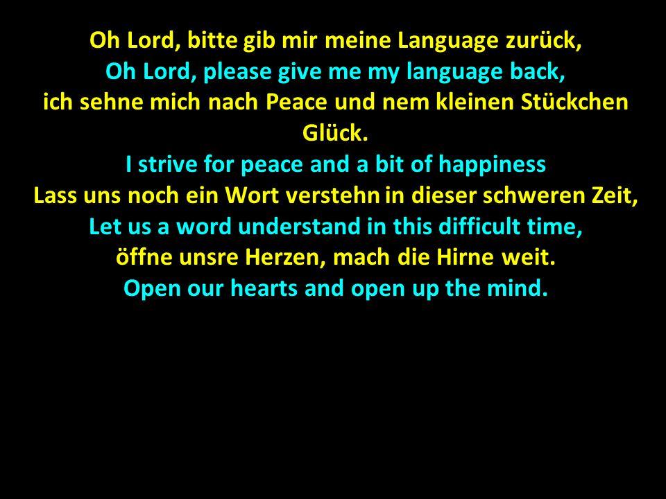 Oh Lord, bitte gib mir meine Language zurück, Oh Lord, please give me my language back, ich sehne mich nach Peace und nem kleinen Stückchen Glück. I s