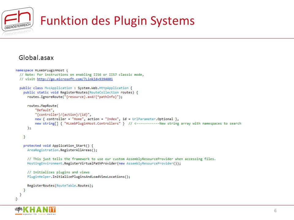 BAS5SE | Fachhochschule Hagenberg | Daniel Khan | S0810307075 6 Funktion des Plugin Systems Global.asax