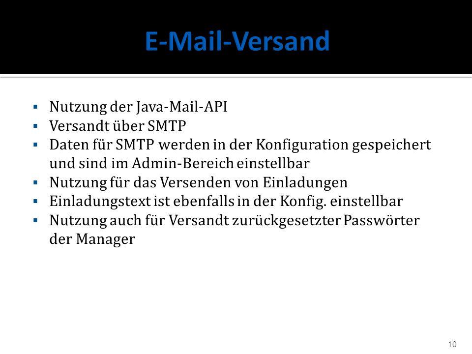 Nutzung der Java-Mail-API Versandt über SMTP Daten für SMTP werden in der Konfiguration gespeichert und sind im Admin-Bereich einstellbar Nutzung für