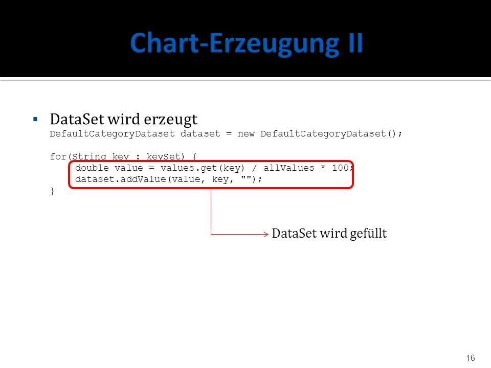 DataSet wird erzeugt DefaultCategoryDataset dataset = new DefaultCategoryDataset(); for(String key : keySet) { double value = values.get(key) / allVal