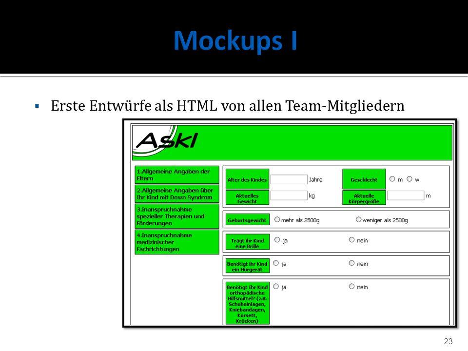 Erste Entwürfe als HTML von allen Team-Mitgliedern 23