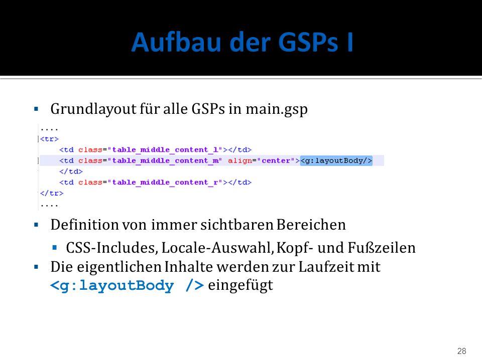 Grundlayout für alle GSPs in main.gsp Definition von immer sichtbaren Bereichen CSS-Includes, Locale-Auswahl, Kopf- und Fußzeilen Die eigentlichen Inh