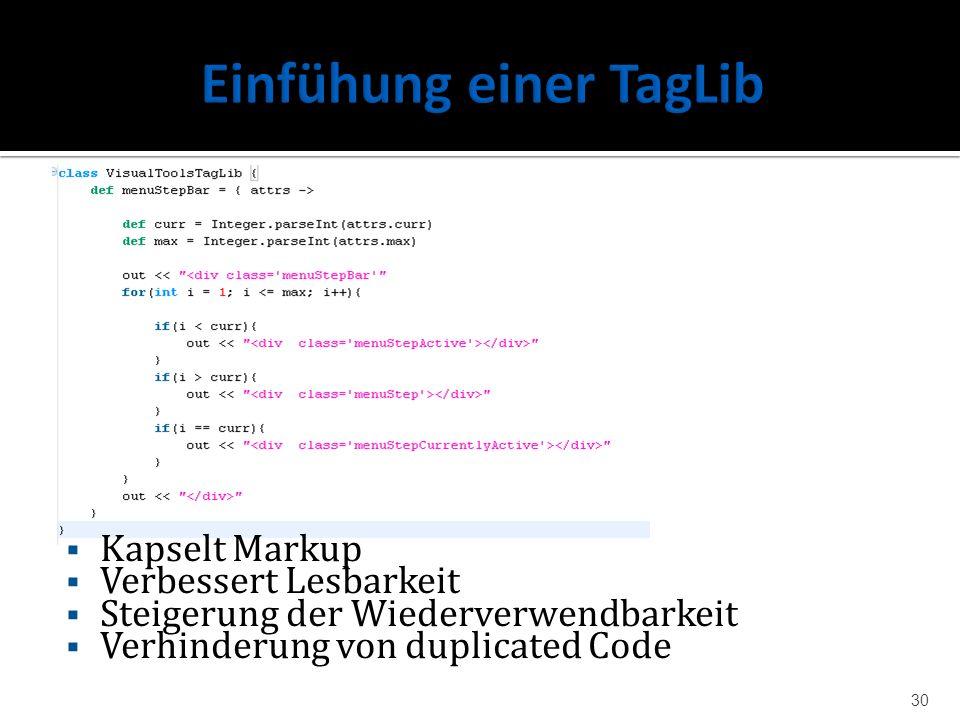 Kapselt Markup Verbessert Lesbarkeit Steigerung der Wiederverwendbarkeit Verhinderung von duplicated Code 30