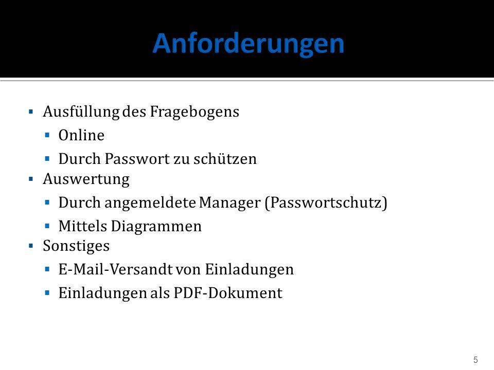 Ausfüllung des Fragebogens Online Durch Passwort zu schützen Auswertung Durch angemeldete Manager (Passwortschutz) Mittels Diagrammen Sonstiges E-Mail