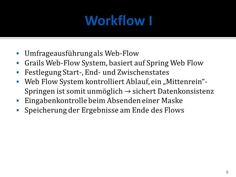 Umfrageausführung als Web-Flow Grails Web-Flow System, basiert auf Spring Web Flow Festlegung Start-, End- und Zwischenstates Web Flow System kontroll