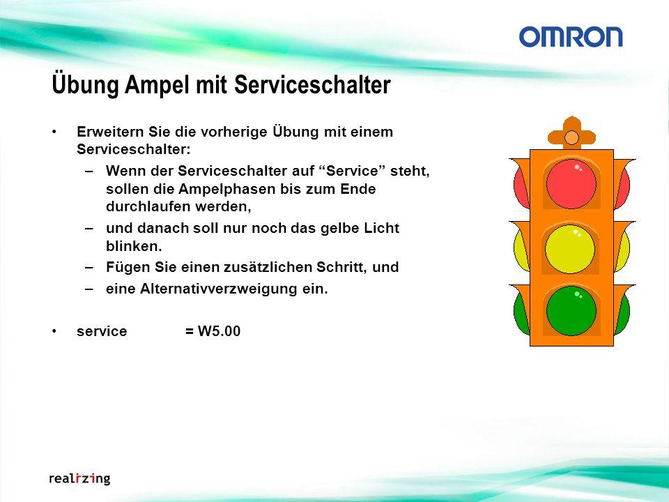 Übung Ampel mit Serviceschalter Erweitern Sie die vorherige Übung mit einem Serviceschalter: –Wenn der Serviceschalter auf Service steht, sollen die A