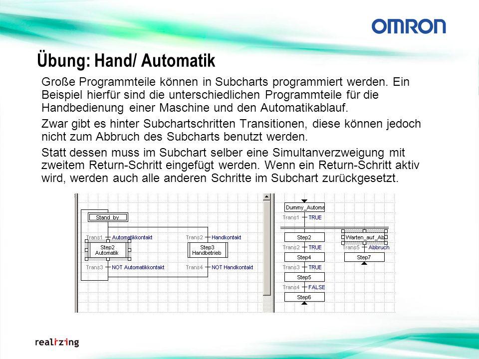 Übung: Hand/ Automatik Große Programmteile können in Subcharts programmiert werden. Ein Beispiel hierfür sind die unterschiedlichen Programmteile für