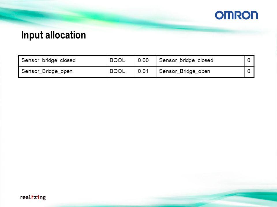 Input allocation Sensor_bridge_closedBOOL0.00Sensor_bridge_closed0 Sensor_Bridge_openBOOL0.01Sensor_Bridge_open0