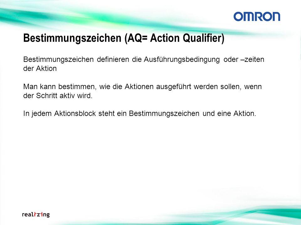 Bestimmungszeichen (AQ= Action Qualifier) Bestimmungszeichen definieren die Ausführungsbedingung oder –zeiten der Aktion Man kann bestimmen, wie die A