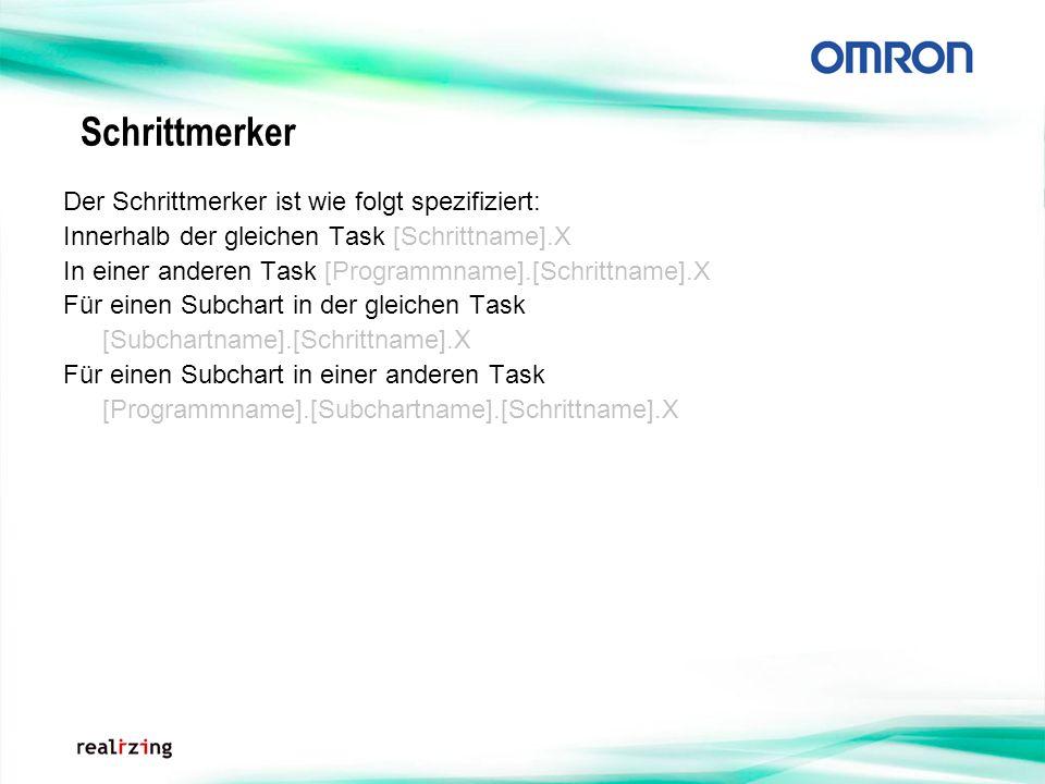 Schrittmerker Der Schrittmerker ist wie folgt spezifiziert: Innerhalb der gleichen Task [Schrittname].X In einer anderen Task [Programmname].[Schrittn