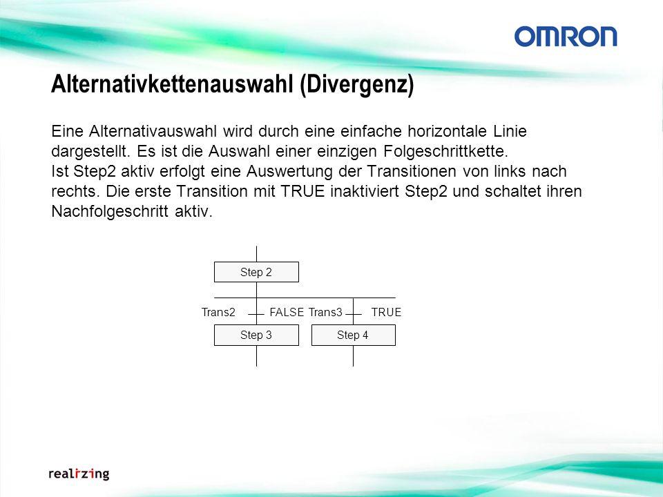 Alternativkettenauswahl (Divergenz) Eine Alternativauswahl wird durch eine einfache horizontale Linie dargestellt. Es ist die Auswahl einer einzigen F