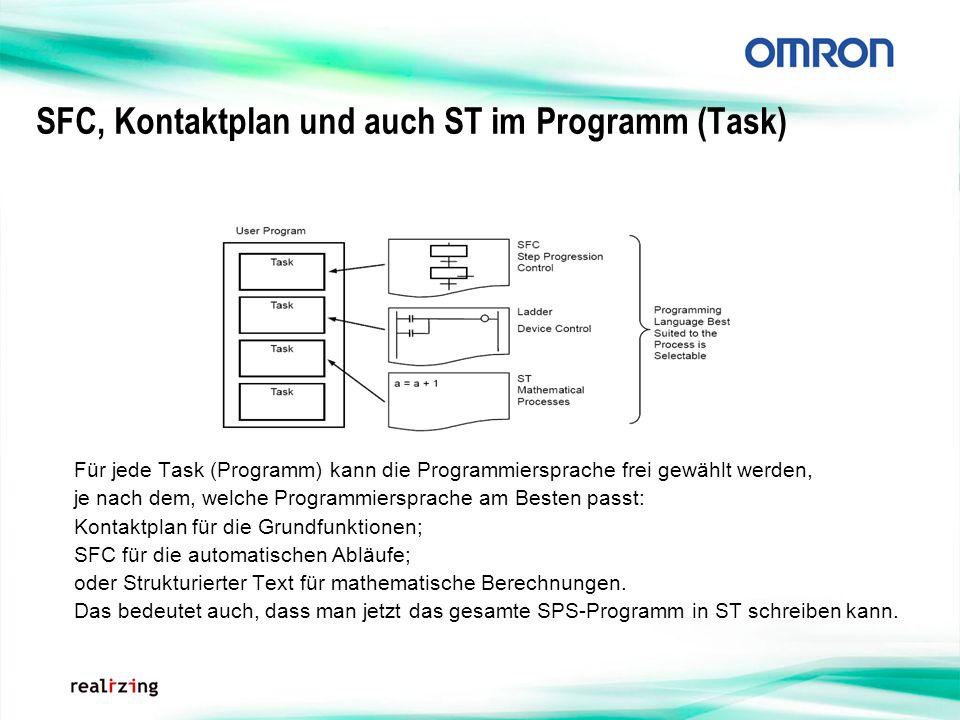 SFC, Kontaktplan und auch ST im Programm (Task) Für jede Task (Programm) kann die Programmiersprache frei gewählt werden, je nach dem, welche Programm