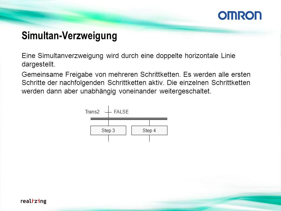 Simultan-Verzweigung Eine Simultanverzweigung wird durch eine doppelte horizontale Linie dargestellt. Gemeinsame Freigabe von mehreren Schrittketten.