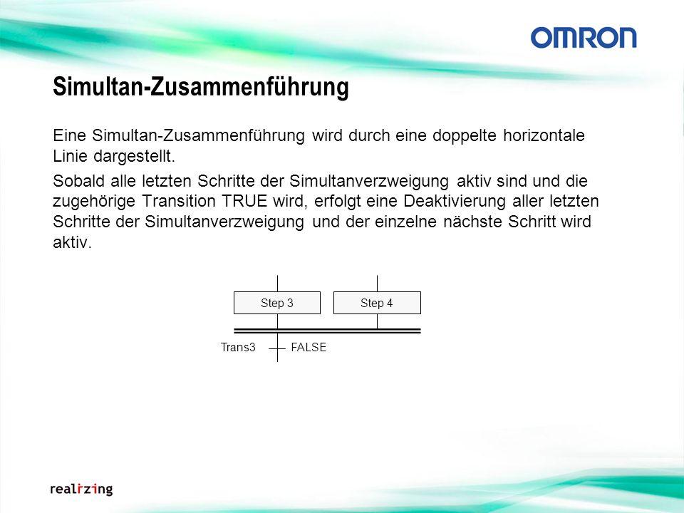 Simultan-Zusammenführung Eine Simultan-Zusammenführung wird durch eine doppelte horizontale Linie dargestellt. Sobald alle letzten Schritte der Simult