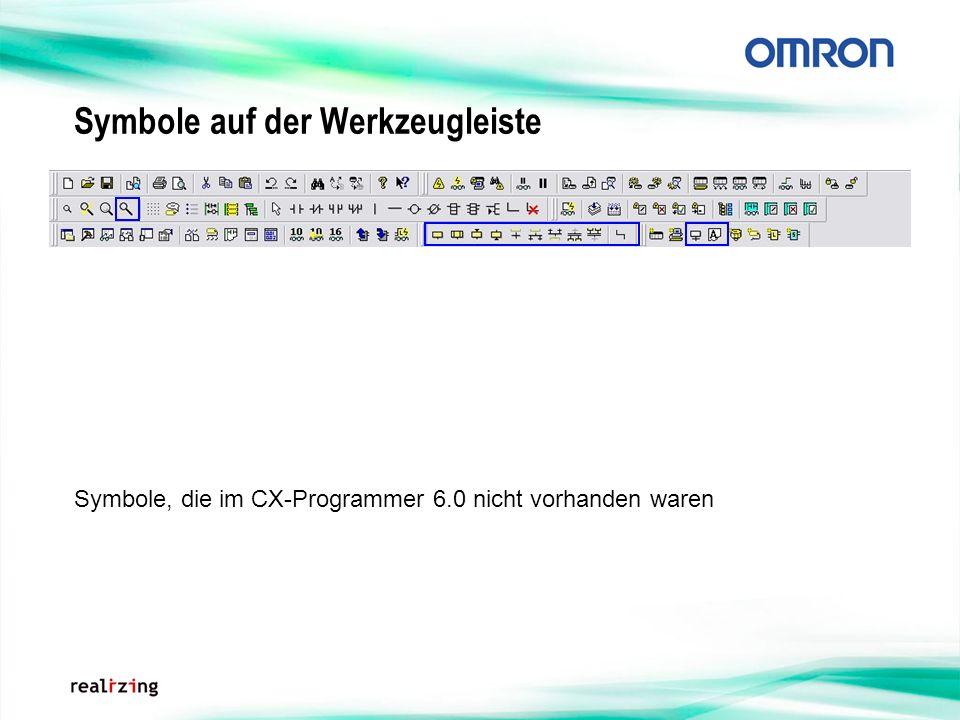 Symbole auf der Werkzeugleiste Symbole, die im CX-Programmer 6.0 nicht vorhanden waren