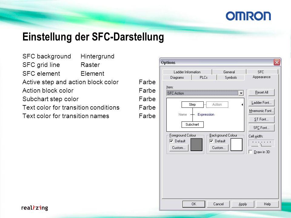 Einstellung der SFC-Darstellung SFC backgroundHintergrund SFC grid lineRaster SFC element Element Active step and action block colorFarbe Action block