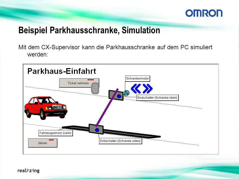 Beispiel Parkhausschranke, Simulation Mit dem CX-Supervisor kann die Parkhausschranke auf dem PC simuliert werden: