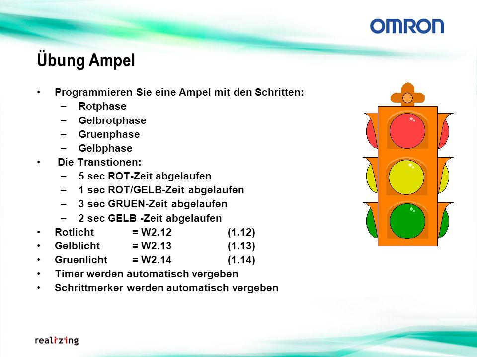 Übung Ampel Programmieren Sie eine Ampel mit den Schritten: – Rotphase – Gelbrotphase – Gruenphase – Gelbphase Die Transtionen: – 5 sec ROT-Zeit abgel