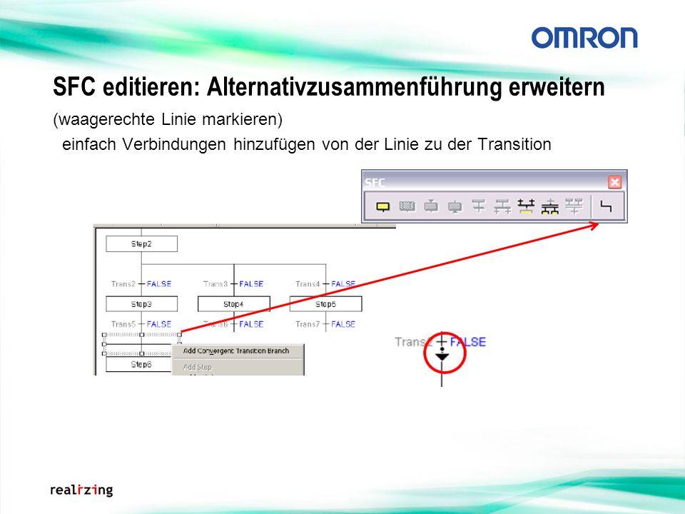 SFC editieren: Alternativzusammenführung erweitern (waagerechte Linie markieren) einfach Verbindungen hinzufügen von der Linie zu der Transition