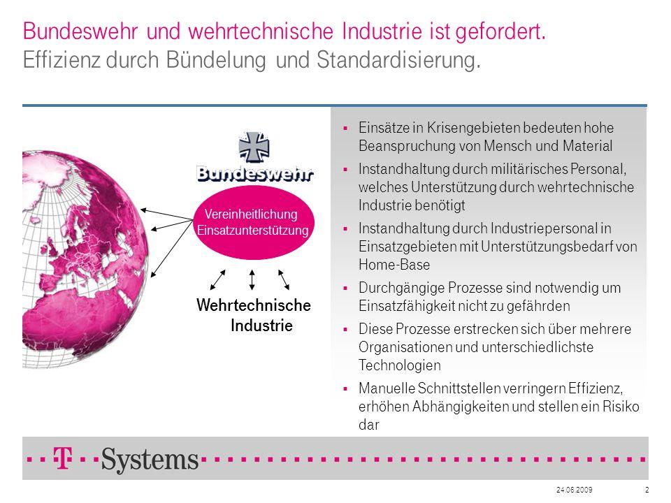 24.06.20092 Bundeswehr und wehrtechnische Industrie ist gefordert. Effizienz durch Bündelung und Standardisierung. Einsätze in Krisengebieten bedeuten