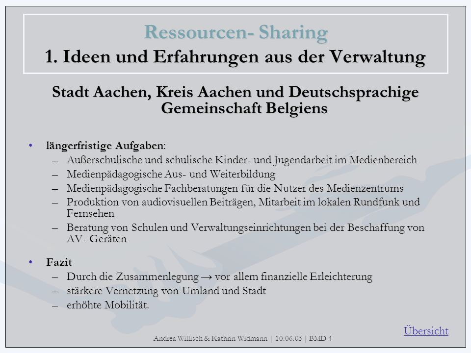 Andrea Willisch & Kathrin Widmann | 10.06.05 | BMD 4 Ressourcen- Sharing 1. Ideen und Erfahrungen aus der Verwaltung Stadt Aachen, Kreis Aachen und De