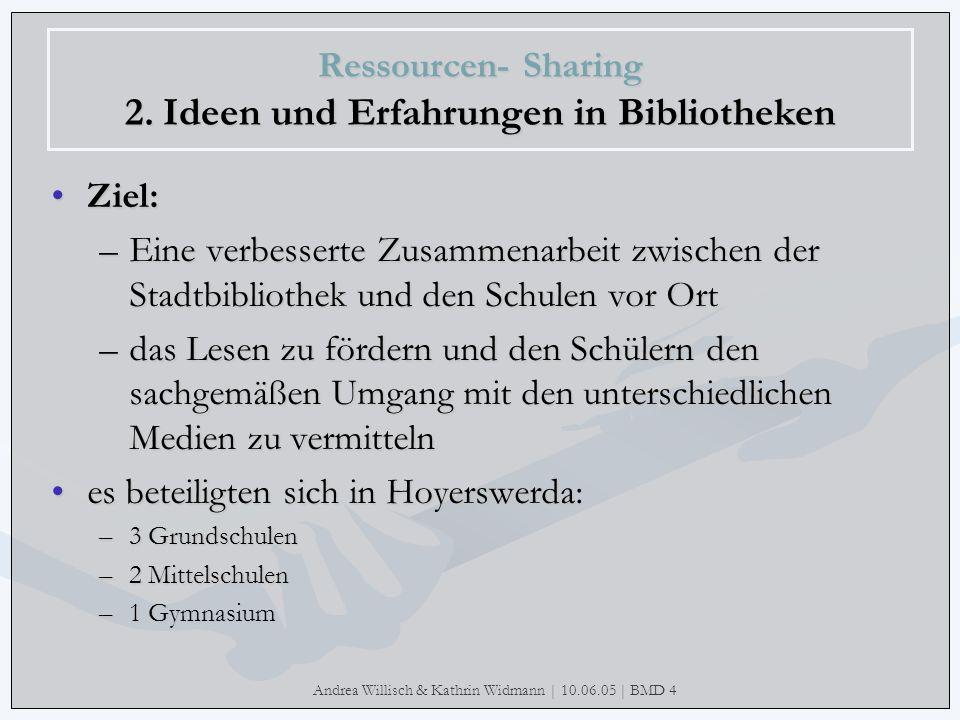Andrea Willisch & Kathrin Widmann | 10.06.05 | BMD 4 Ressourcen- Sharing 2. Ideen und Erfahrungen in Bibliotheken Ziel: –Eine verbesserte Zusammenarbe