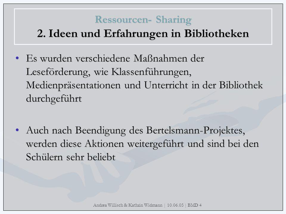 Andrea Willisch & Kathrin Widmann | 10.06.05 | BMD 4 Ressourcen- Sharing 2. Ideen und Erfahrungen in Bibliotheken Es wurden verschiedene Maßnahmen der