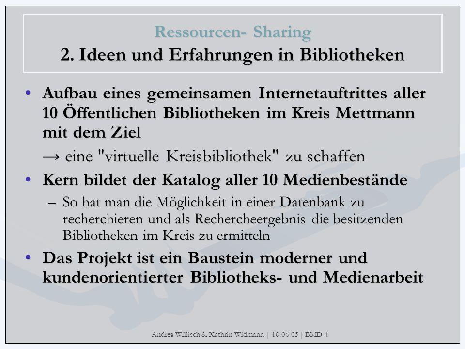 Andrea Willisch & Kathrin Widmann | 10.06.05 | BMD 4 Ressourcen- Sharing 2. Ideen und Erfahrungen in Bibliotheken Aufbau eines gemeinsamen Internetauf