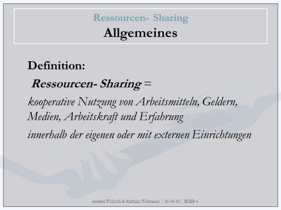 Andrea Willisch & Kathrin Widmann | 10.06.05 | BMD 4 Ressourcen- Sharing Allgemeines Warum wird gerade heute Ressourcen- Sharing immer wichtiger.