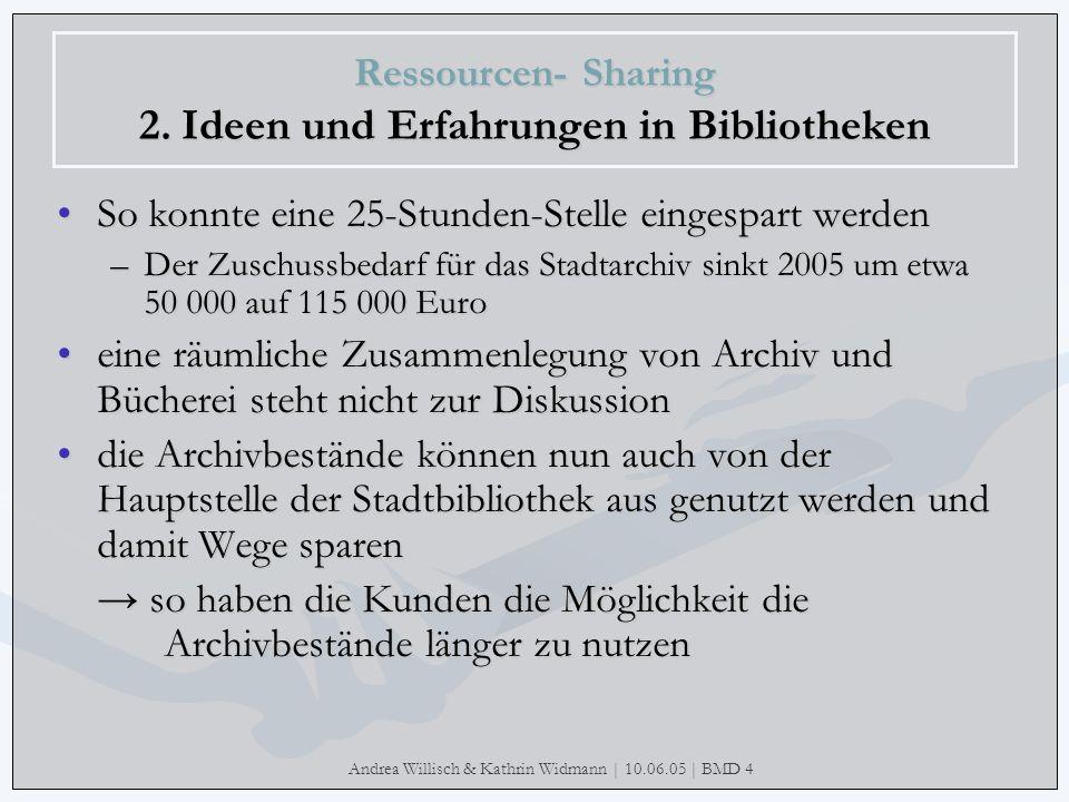 Andrea Willisch & Kathrin Widmann | 10.06.05 | BMD 4 Ressourcen- Sharing 2. Ideen und Erfahrungen in Bibliotheken So konnte eine 25-Stunden-Stelle ein