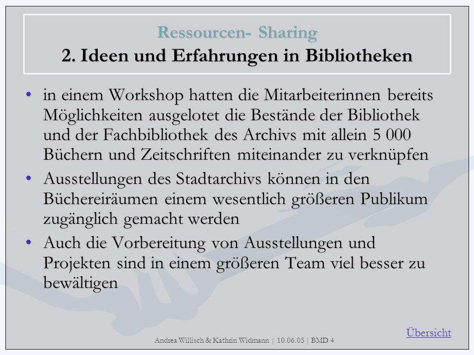 Andrea Willisch & Kathrin Widmann | 10.06.05 | BMD 4 Ressourcen- Sharing 2. Ideen und Erfahrungen in Bibliotheken in einem Workshop hatten die Mitarbe
