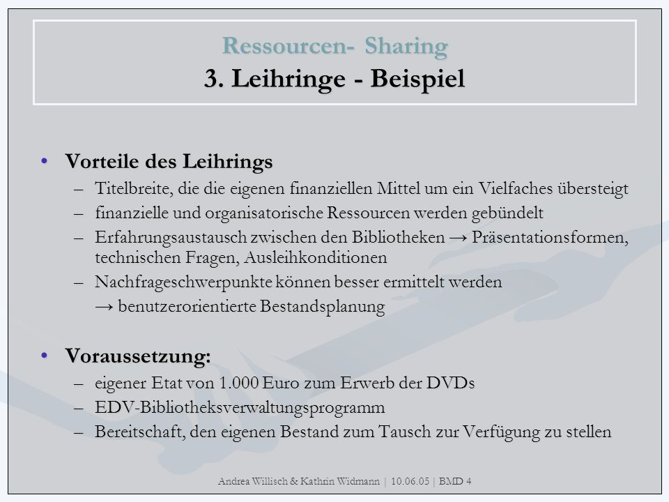 Andrea Willisch & Kathrin Widmann | 10.06.05 | BMD 4 Ressourcen- Sharing 3. Leihringe - Beispiel Vorteile des LeihringsVorteile des Leihrings –Titelbr