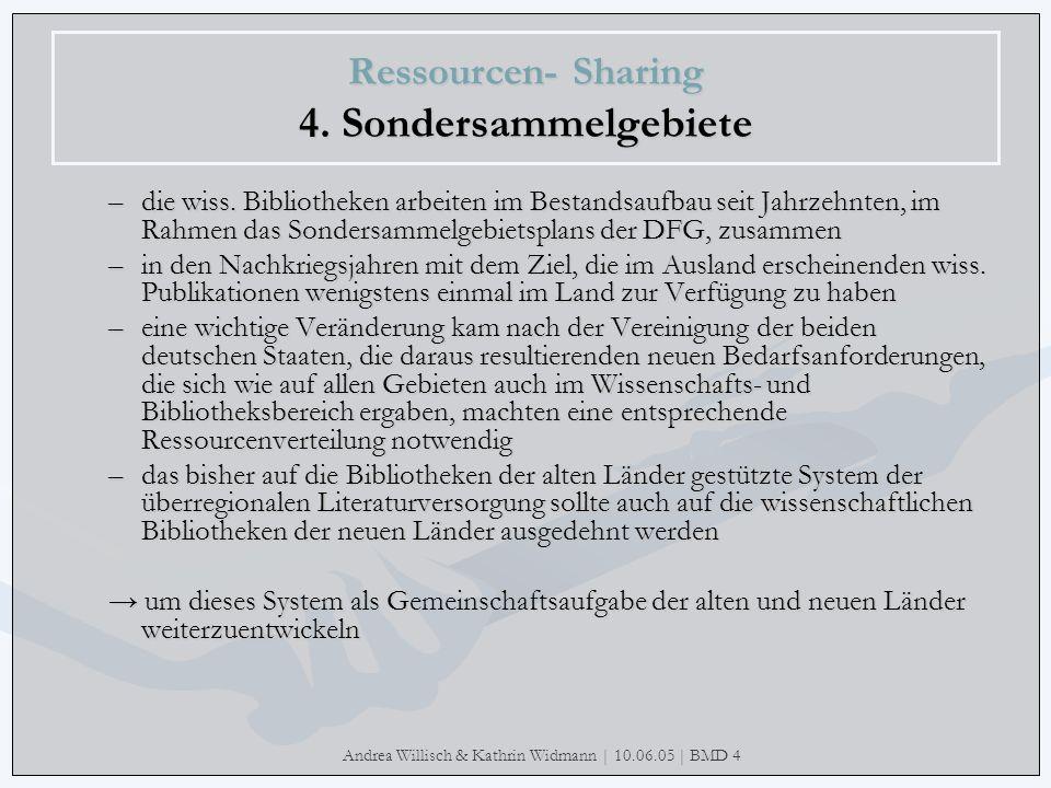 Andrea Willisch & Kathrin Widmann | 10.06.05 | BMD 4 Ressourcen- Sharing 4. Sondersammelgebiete –die wiss. Bibliotheken arbeiten im Bestandsaufbau sei