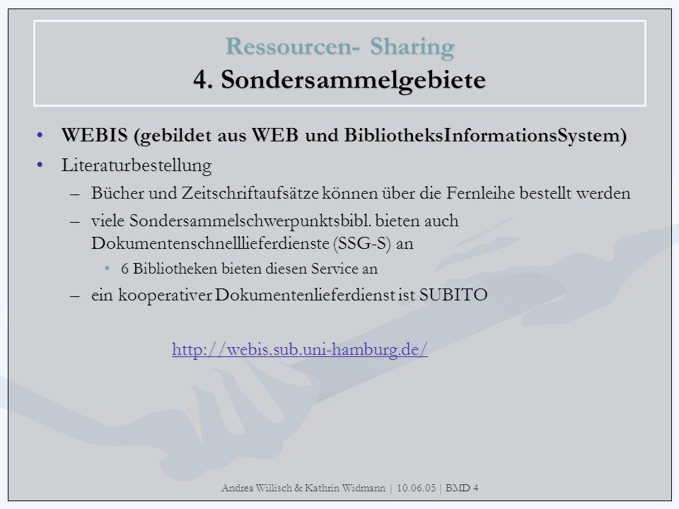 Andrea Willisch & Kathrin Widmann | 10.06.05 | BMD 4 Ressourcen- Sharing 4. Sondersammelgebiete WEBIS (gebildet aus WEB und BibliotheksInformationsSys