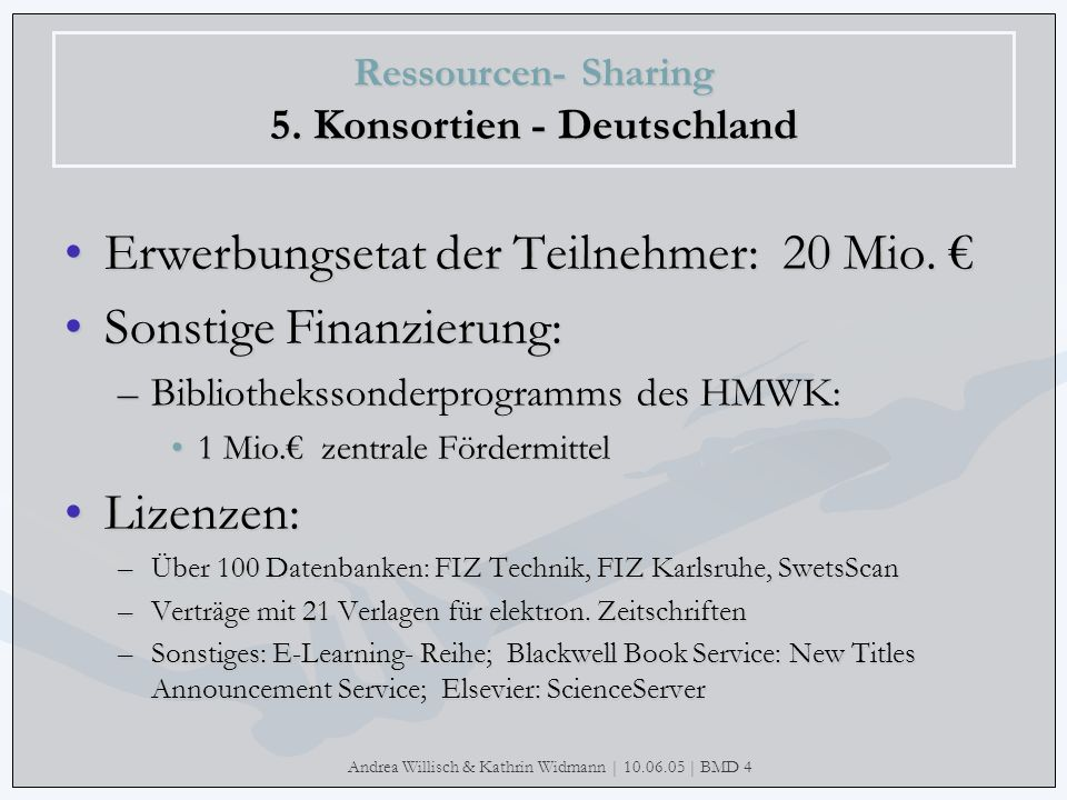 Andrea Willisch & Kathrin Widmann | 10.06.05 | BMD 4 Ressourcen- Sharing 5. Konsortien - Deutschland Erwerbungsetat der Teilnehmer: 20 Mio.Erwerbungse