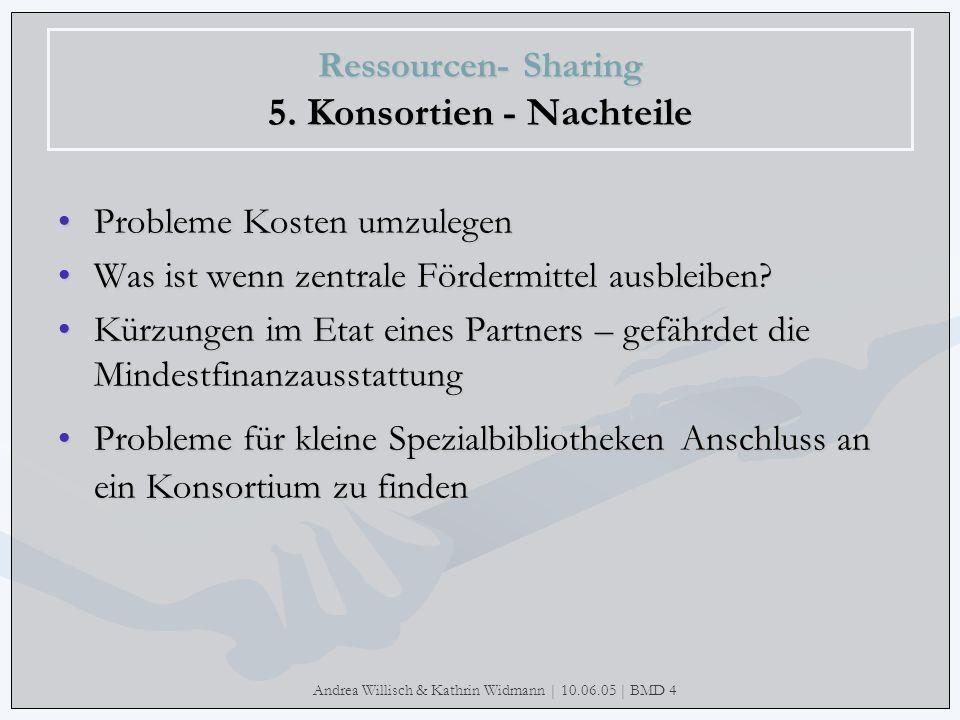 Andrea Willisch & Kathrin Widmann | 10.06.05 | BMD 4 Ressourcen- Sharing 5. Konsortien - Nachteile Probleme Kosten umzulegenProbleme Kosten umzulegen