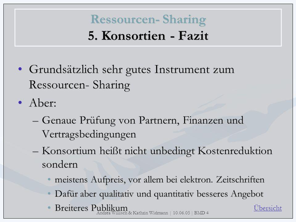 Andrea Willisch & Kathrin Widmann | 10.06.05 | BMD 4 Ressourcen- Sharing 5. Konsortien - Fazit Grundsätzlich sehr gutes Instrument zum Ressourcen- Sha